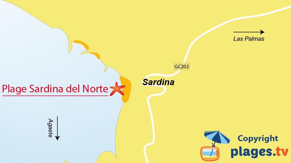 Plan des plages de Sardina à Gran Canaria