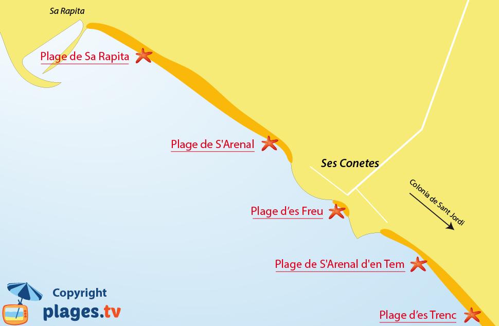 Plan des plages de Ses Covetes à Majorque aux Baléares