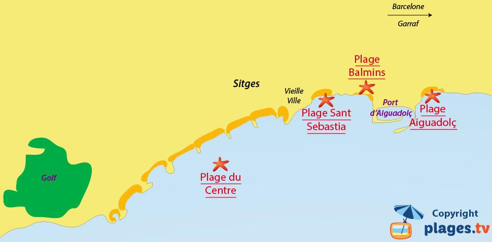 Plan des plages de Sitges en Espagne