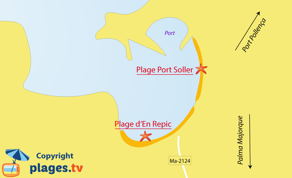 Plan des plages de Port Soller à Majorque - Espagne