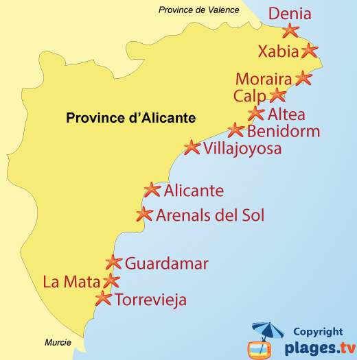 Plan des stations balnéaires et des plages de la province d'Alicante en Espagne