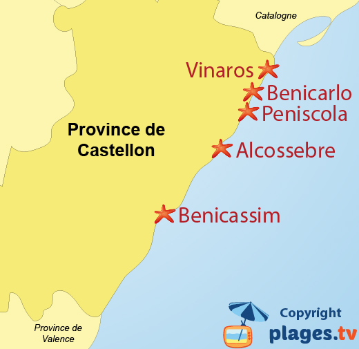 Carte des stations balnéaires et des plages de la province de Castellon en Espagne
