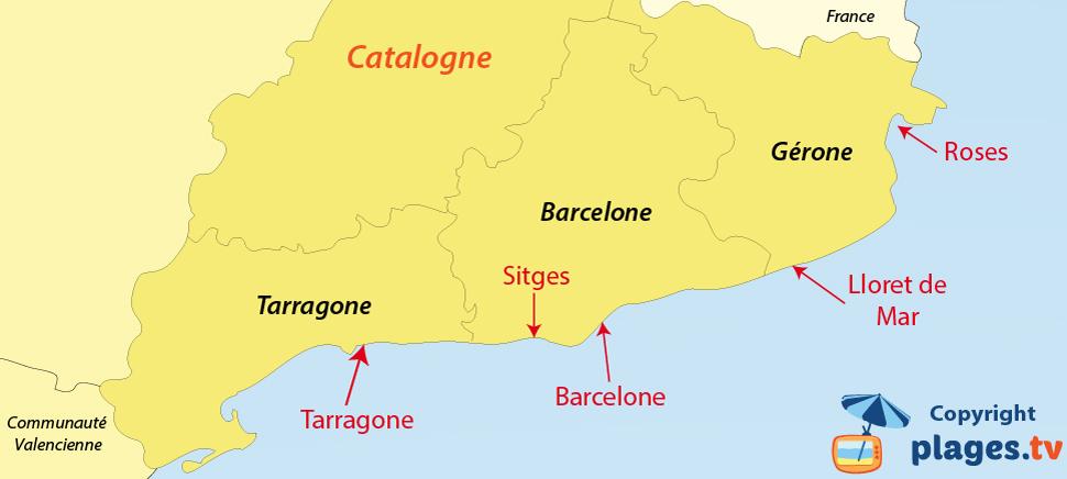 Plan des plages et des stations balnéaires de la Catalogne en Espagne