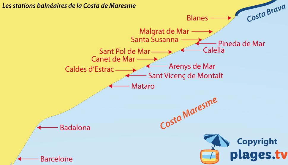 Carte des plages et des stations balnéaires de la Cote de Maresme en Espagne