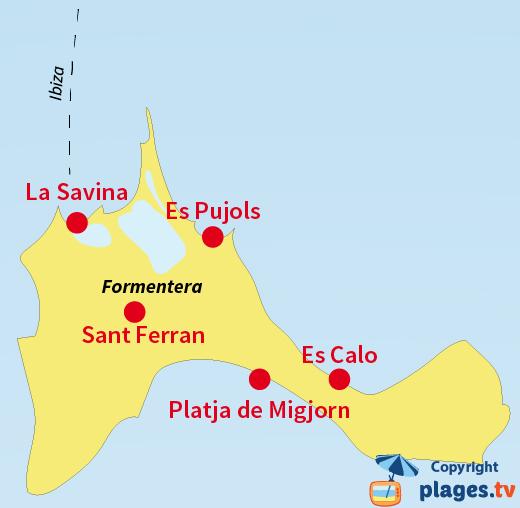 Plan des plages de Formentera et des stations balnéaires