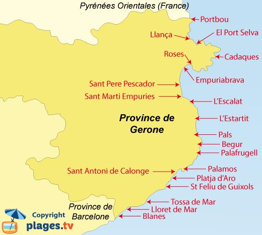 Plan des plages et des stations balnéaires de la province de Gérone en Espagne - Costa Brava