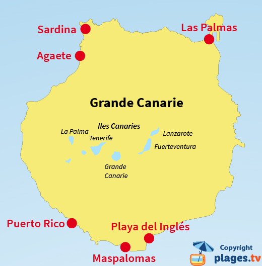 Carte des stations balnéaires et des plages de Gran Canaria - Grande Canarie