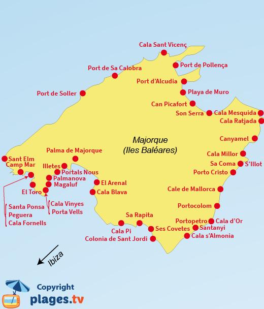Plan des stations balnéaires et des plages de Majorques - Baléares