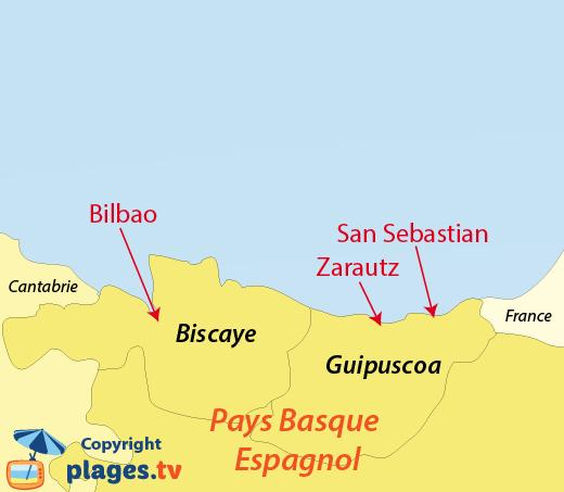 Plan des plages et des stations balnéaires du Pays Basque espagnol