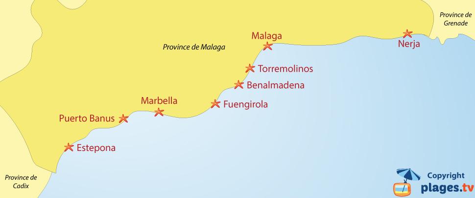 Plan des plages et des stations balnéaires de la province de Malaga en Andalousie - Espagne