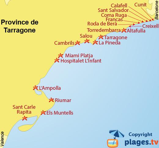 Plan des plages et des stations balnéaires de la province de Tarragone en Espagne