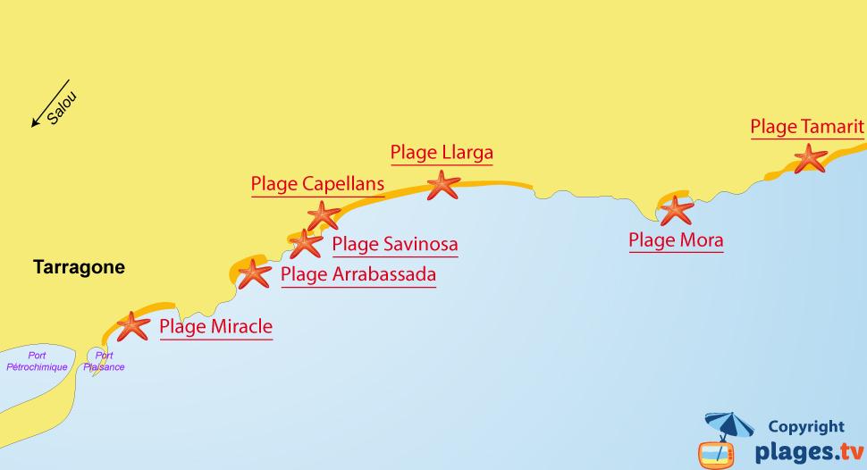 Plan des plages de Tarragone en Espagne
