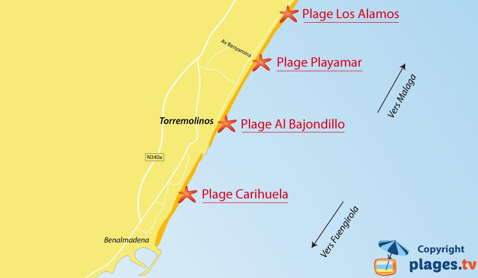 Plan des plages de Torremolinos en Espagne