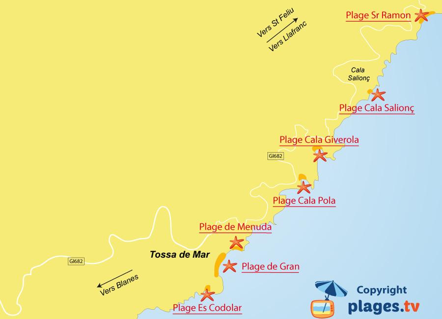 Plan des plages de Tossa de Mar en Espagne