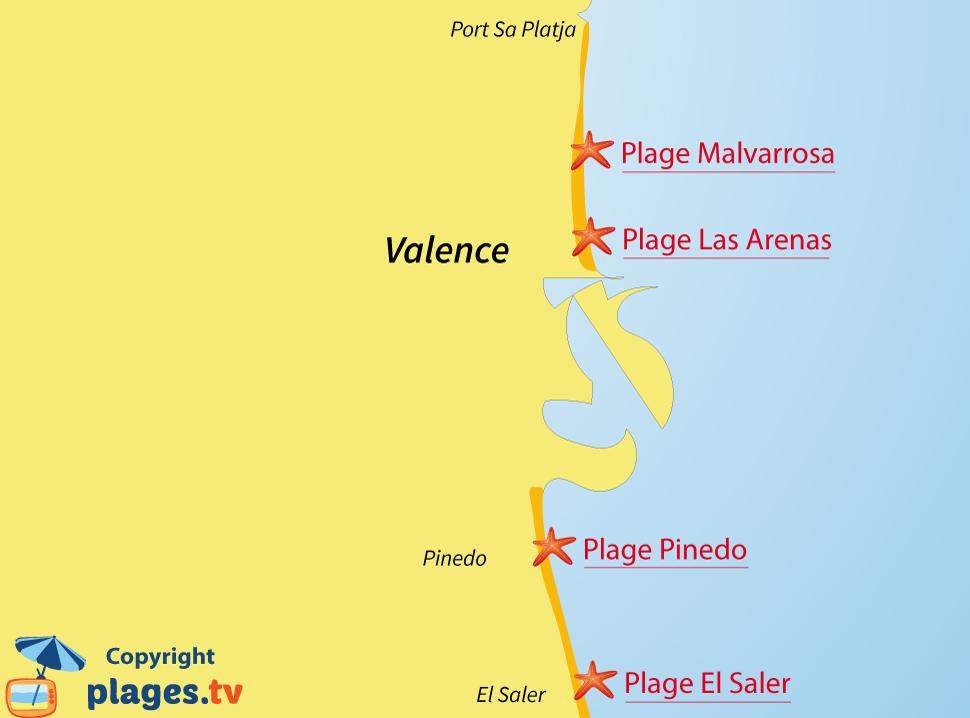Plan des plages de Valence en Espagne