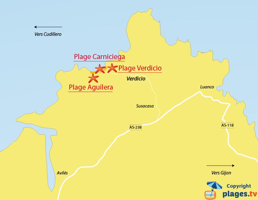 Plan des plages de Verdigio en Espagne (Asturies)