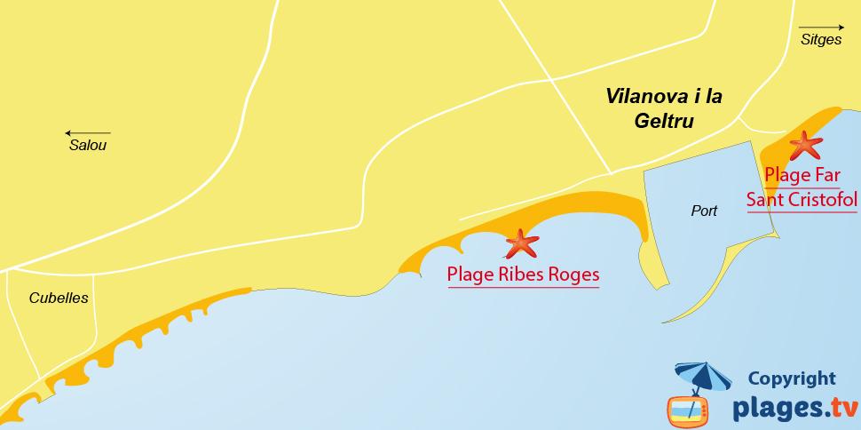 Plan des plages à Vilanova i la Geltru - Espagne