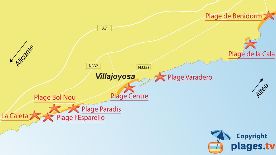 Plan des plages de Villajoyosa en Espagne