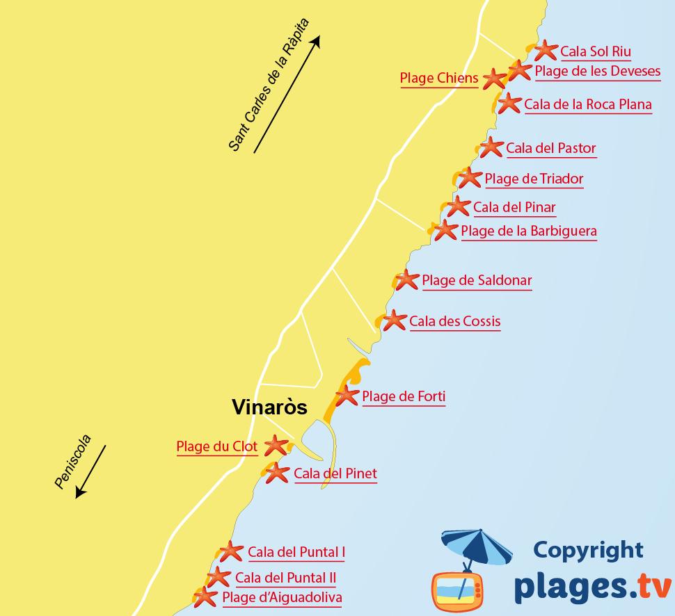 Plan des plages de Vinaros en Espagne