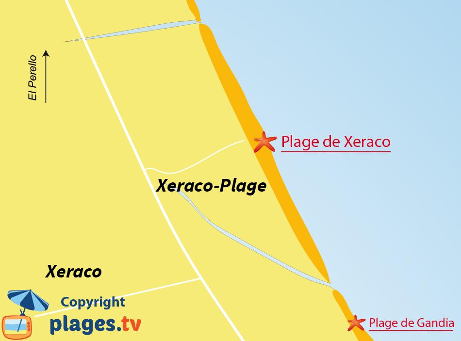 Plan des plages de Xeraco en Espagne