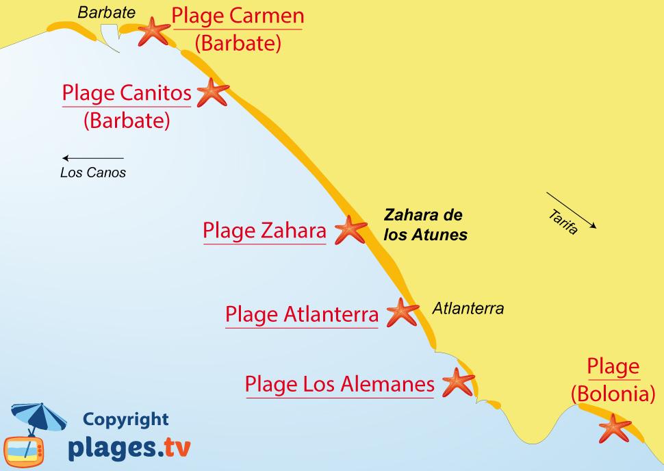 Plan des plages de Zahara en Andalousie en Espagne
