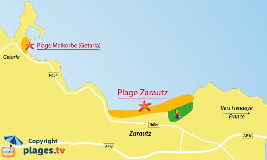 Plan des plages de Zarautz dans le pays basque espagnol