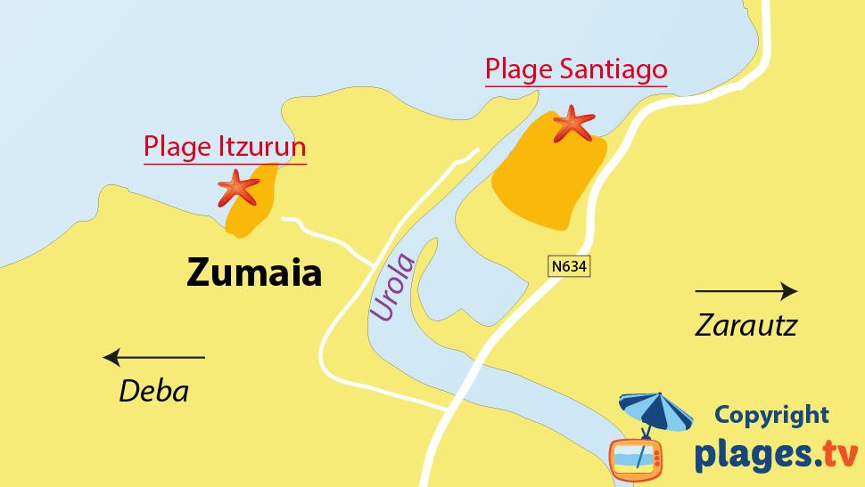 Plan des plages de Zumaia - Pays Basque - Espagne