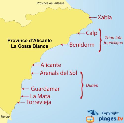 Plan des stations balnéaires et des plages de la Costa Blanca en Espagne