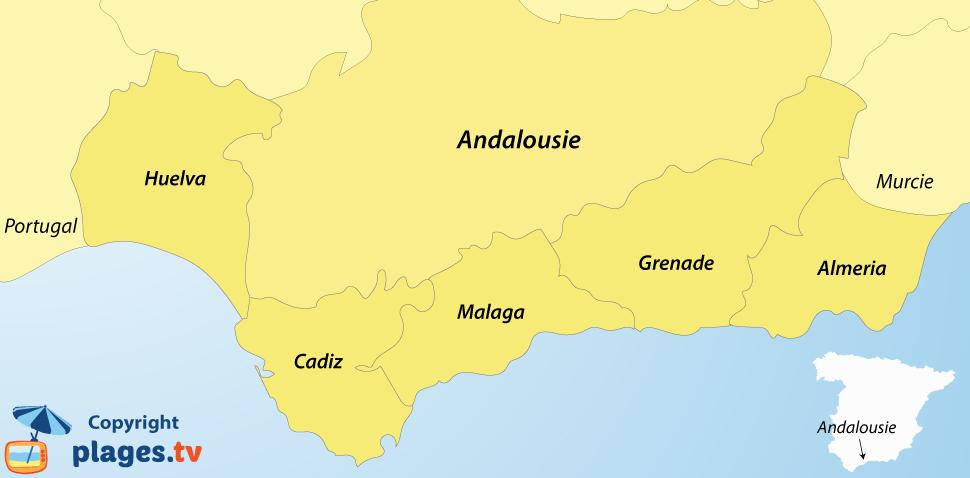 Carte des destinations de l'Andalousie côté Méditerranée et Atlantique