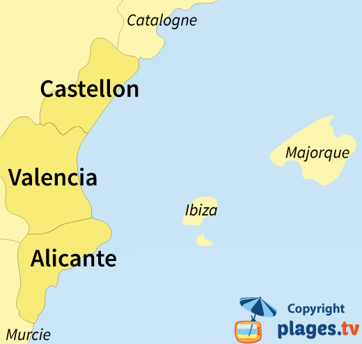 Plan des stations balnéaires et des plages de la communauté de Valencienne en Espagne