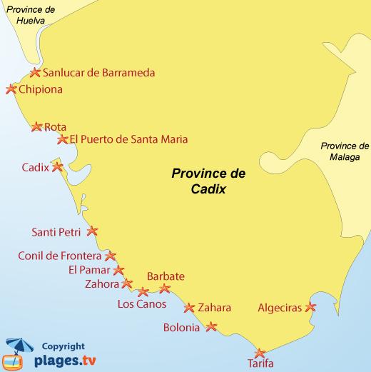 Carte des stations balnéaires et des plages de la province de Cadix en Andalousie - Espagne
