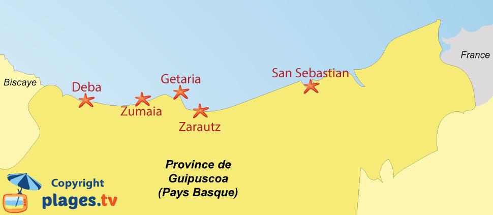Plan des stations balnéaires et des plages de Guipuscoa dans le pays basque espagnol