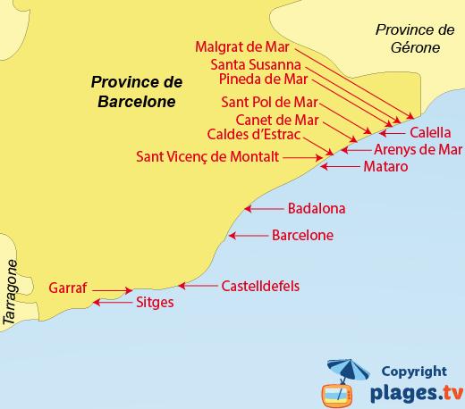 Plan des stations balnéaires de la province de Barcelone et des plages