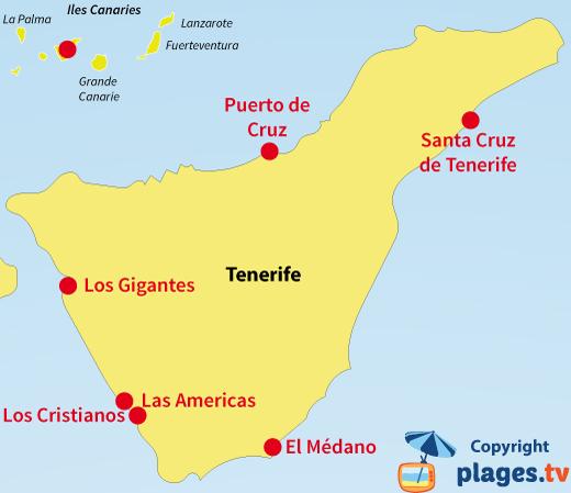 Plan des stations balnéaires et des plages de Tenerife - Iles Canaries