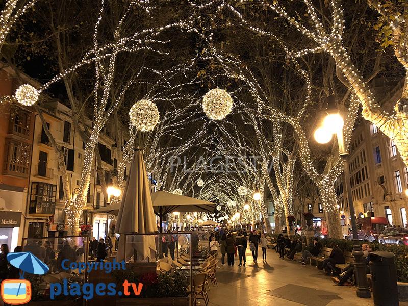 Rue de Palma de Majorque décorée pour Noël