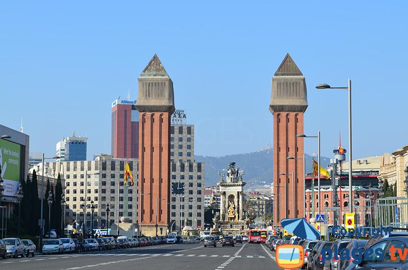 Rue de la place d'Espagne à Barcelone