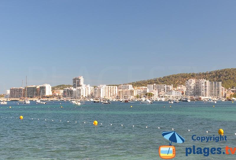 Sant Antoni in Ibiza from the sea